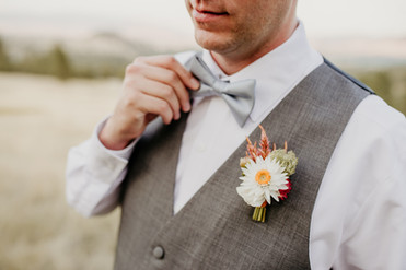 Strawflower and Celosia Boutonniere