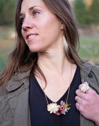 Dried Flower Necklack, Ring, Earrings