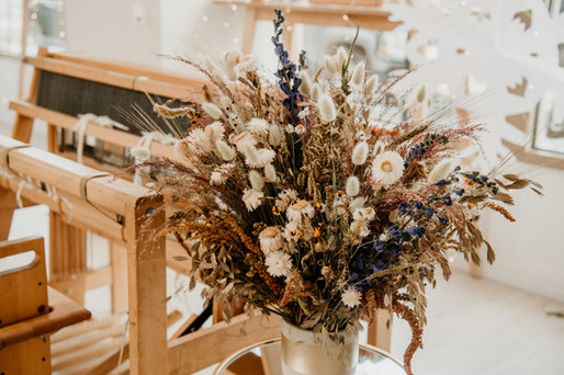 Rust, Indigo and White Dried Flower Arrangement