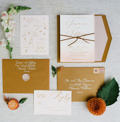 Terracotta Bronze Wedding Invitations