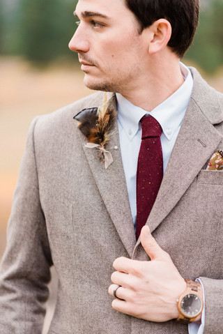 Feather and Dried Flower Boutonniere