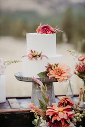 Dahlia and Strawflower Cake Flowers