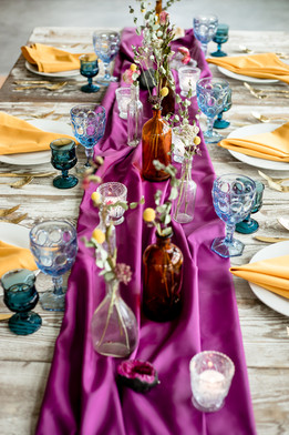 Jewel Toned Dried Flower Wedding Tablescape