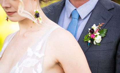 Floral Earrings and Boutonniere