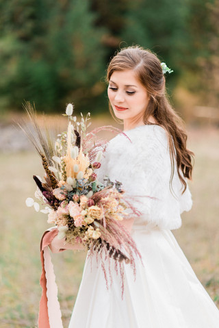 Feathers and Dried Flower Bridal Bouquet