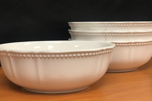 Pinpoint White Cereal/Soup Bowl 30oz Set/4