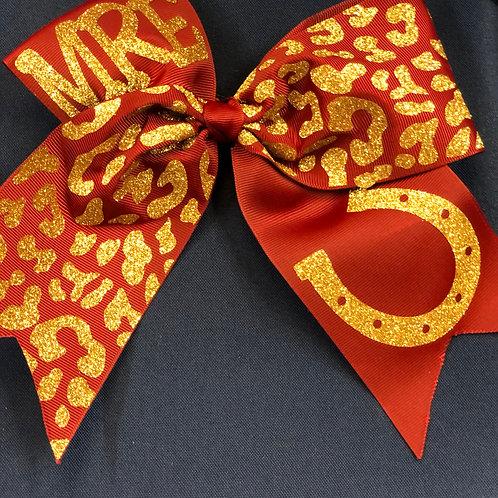 Maroon Cheetah Print Bow