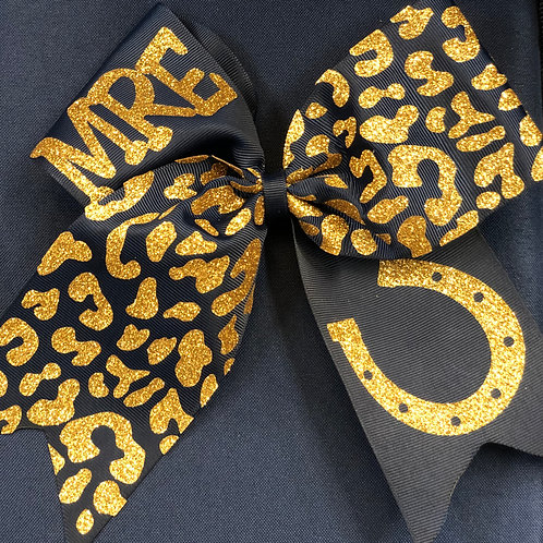 Navy Cheetah Print Bow