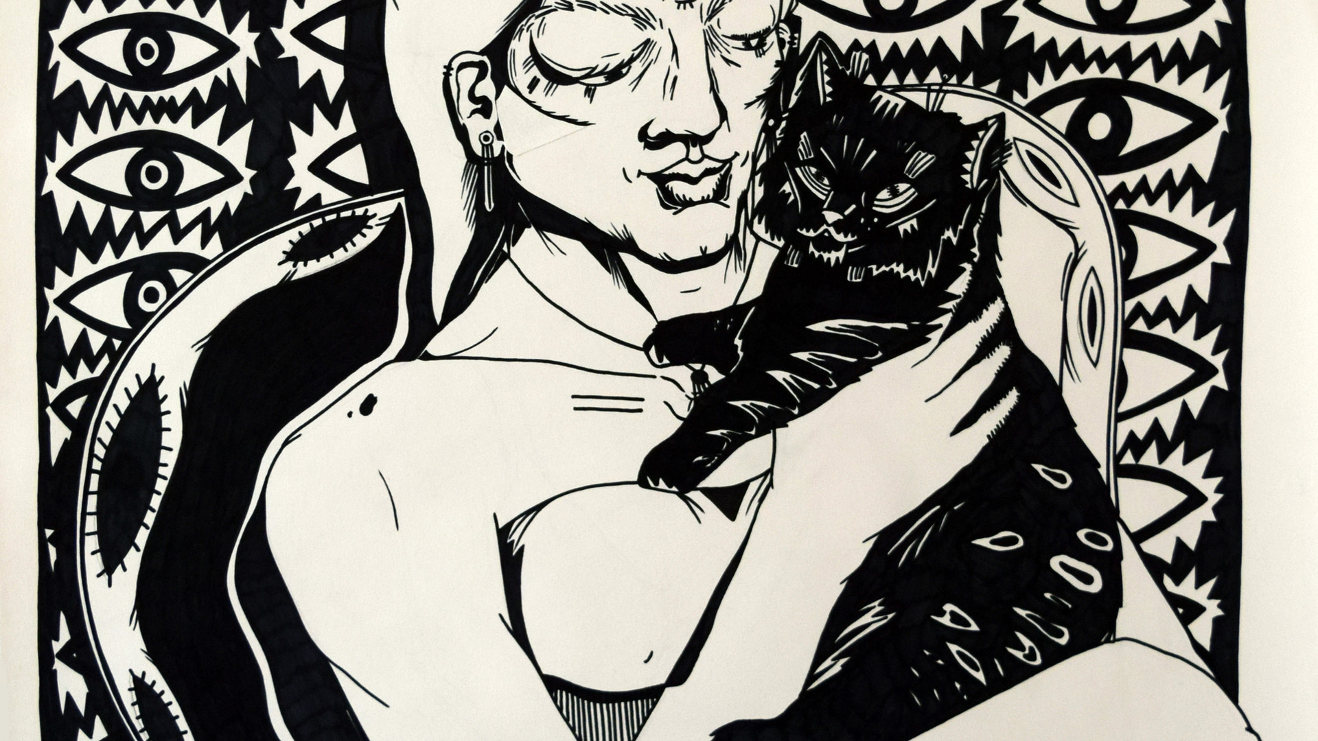 Woman with black cat