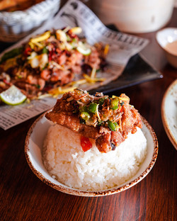 Salted pepper chicken ribs with white rice