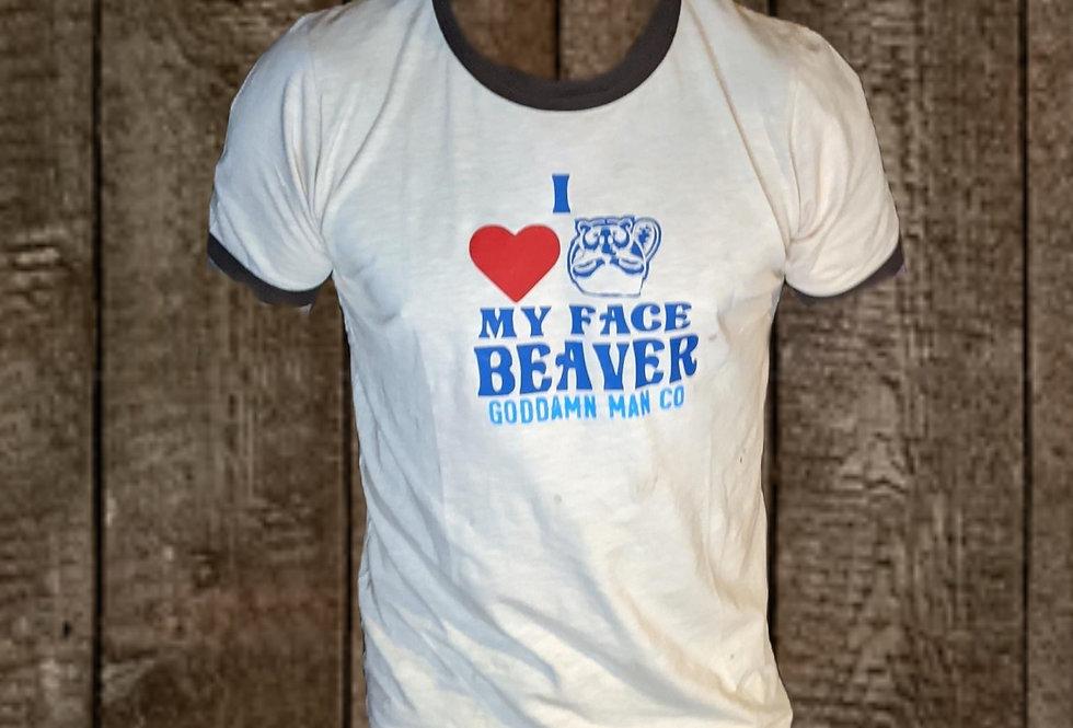 I love beavers ringer tee by Sheehan for Goddamnman Co.