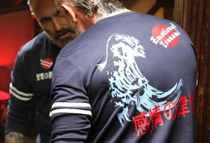 Emotional Tsunami Statement on Long Sleeve French Terry Sweatshirt