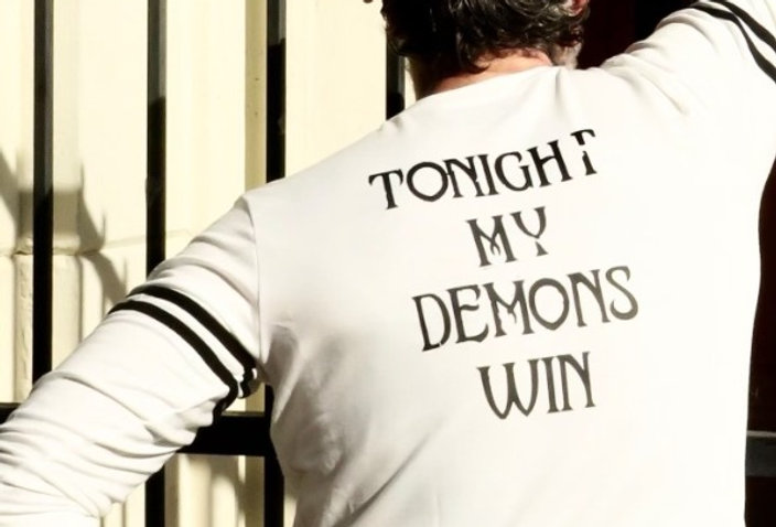 Tonight My Demons Win Statement on French Terry Sweatshirt