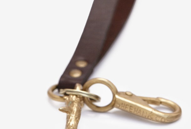 Antler Brass and Leather Key Chain by Sheean