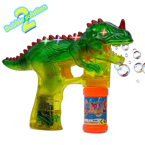 T-Rex Dinosaur Bubble Shooter Gun With Sounds And Music – 2 Bubble Solution Incl