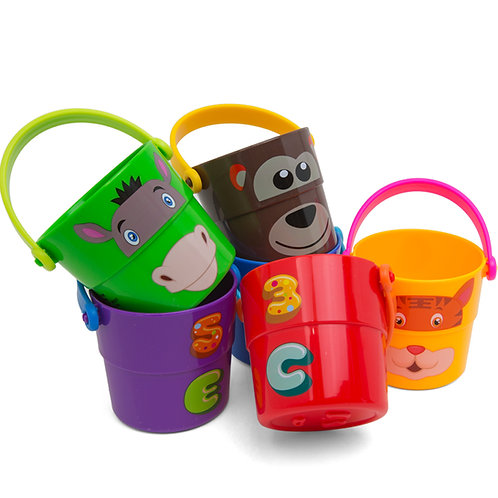 Toddler Bath Stacking Bucket Cups Multi Color With Numbers, ABC Characters