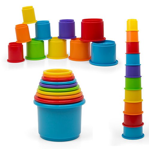 Rainbow Stacking & Nesting Cups Baby Building Set. 10 Pieces.