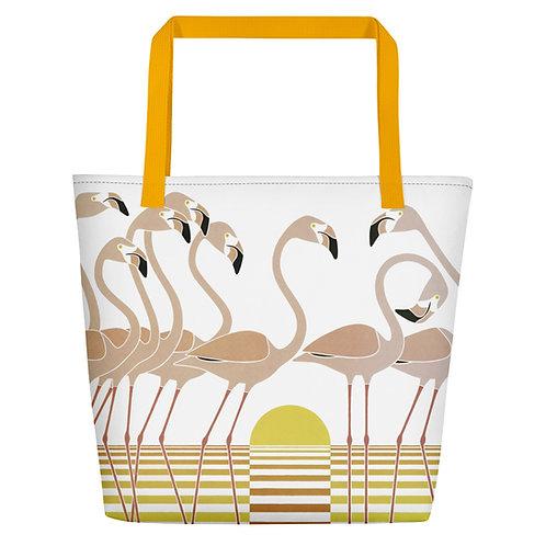 Flamingo Sunrise Beach Bag