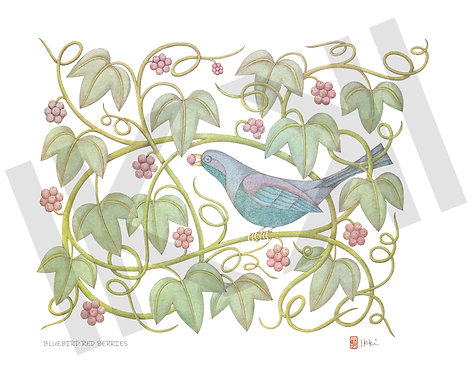 Bluebird and Red Berries