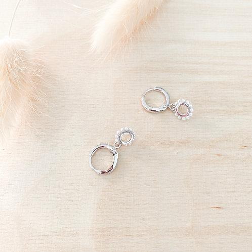 circle pearl hoops silber