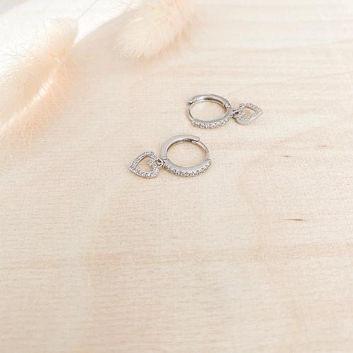 Shiny heart hoops silver