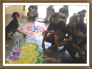 Nurture potential of the children through Drawing and Rangoli competition.