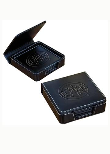 Sandeville Collection Leather Coaster Set