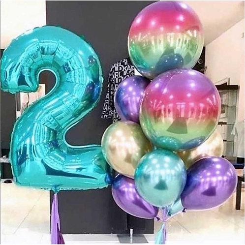 Композиция хром, шары 3D с цифрой