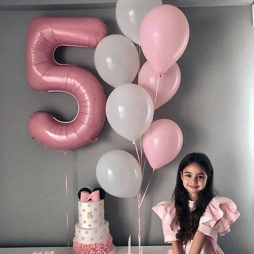 Фонтан розовый, белый с цифрой