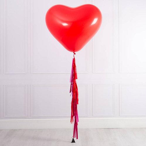 Сердце большое красное с тассел