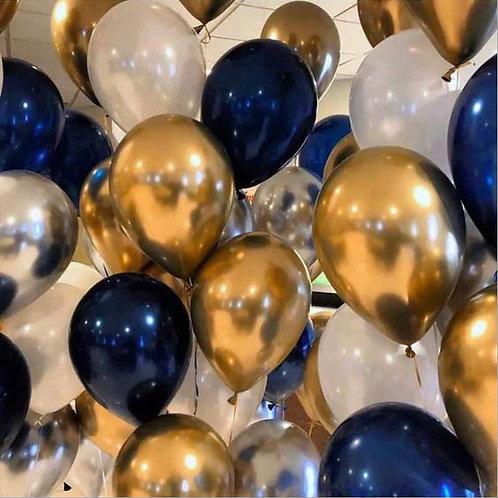 Шары белые, золото хром и темно-синий металлик