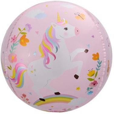 Шар сфера 3D, С Днем Рождения единороги розовый