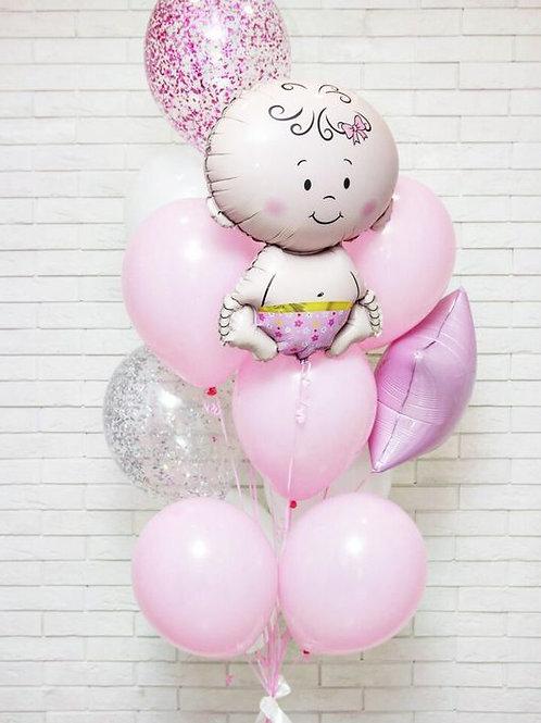 Фонтан розовый с малышкой