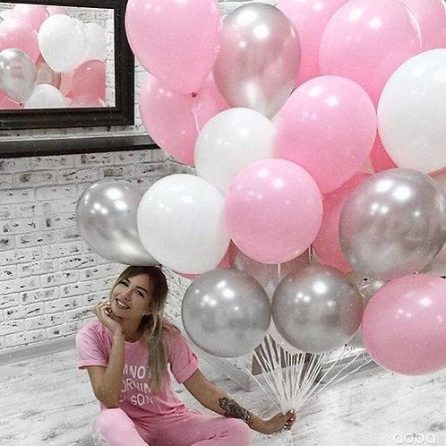 Шары розовые, белые, серебро