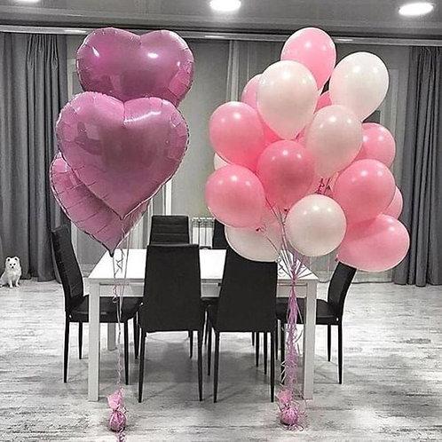 Композиция белая, розовая с большими сердцами