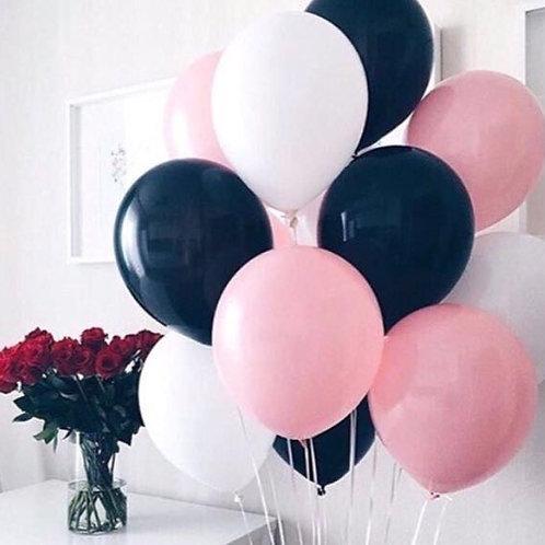Шары белый, черный, розовый пастель