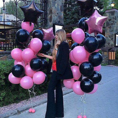 Шары черные и темно-розовые металлик