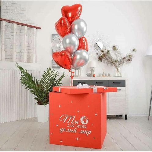 Коробка сюрприз красная с сердцами