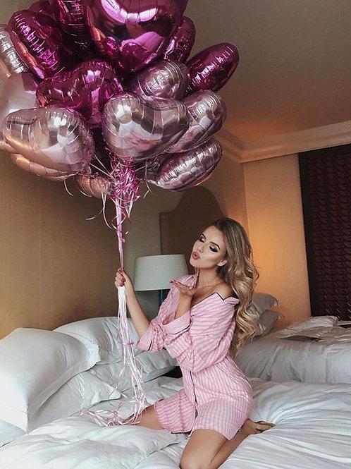 Шары сердца розовые и темно-розовые