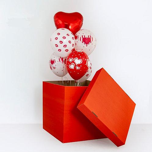 Коробка сюрприз красная с сердцем