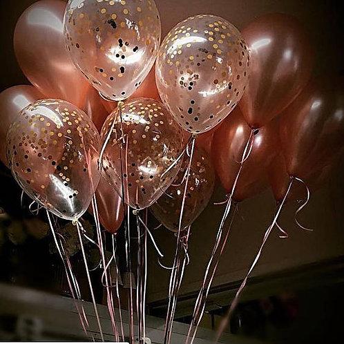 Шары розовое золото и шары с конфетти