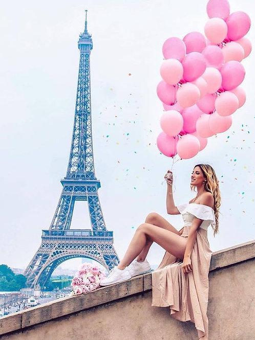 Шары розовые и темно-розовые пастель