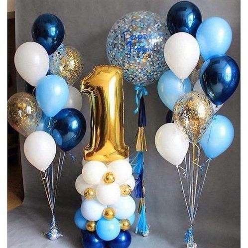 Композиция белая, голубая, синяя