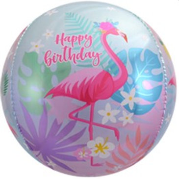 Шар сфера 3D, С Днем Рождения фламинго