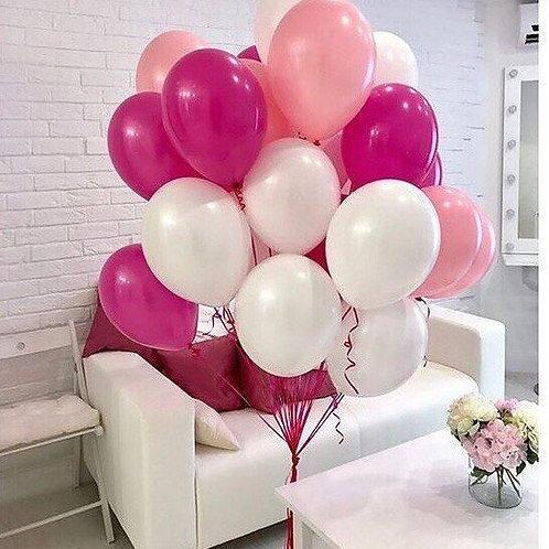Шары белый, розовый, темно розовый пастель