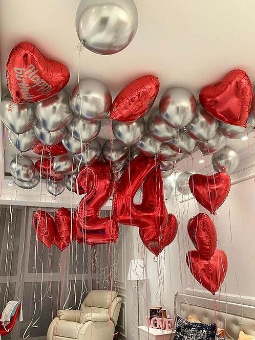Композиция шаров хром серебро и красные сердца
