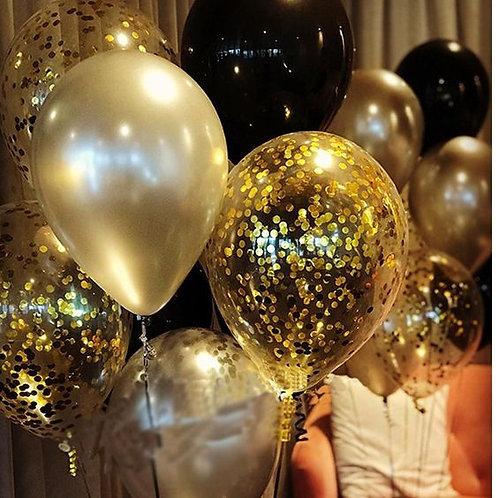Шары черные, золото и шары с конфетти
