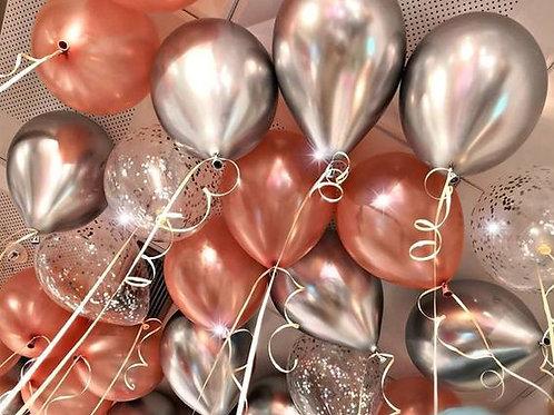 Шары розовое золото, серебро хром и шары с конфетти
