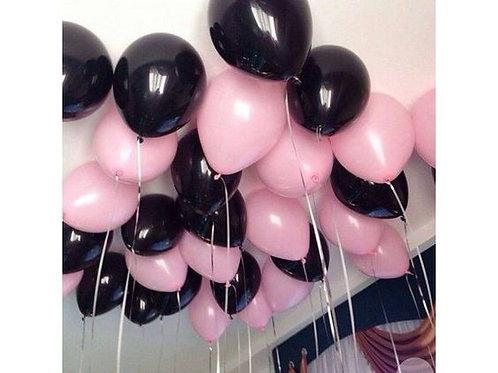 Шары черные и розовые пастель