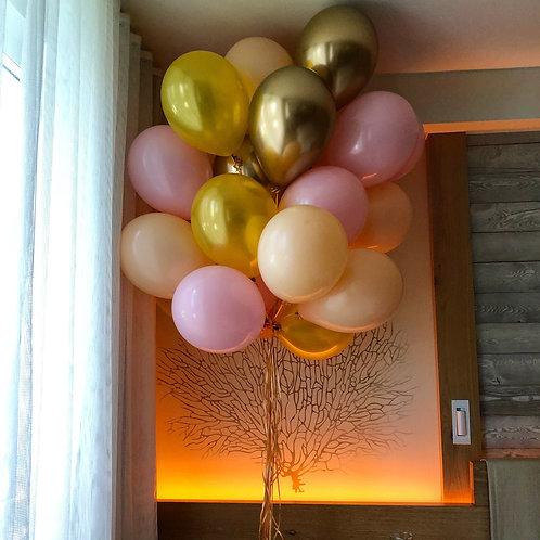 Шары персиковые, розовые и золото